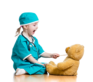 Child Nurse with teddy bear patient